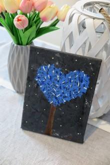 Obrazy - Strom-modré srdce - 10912400_