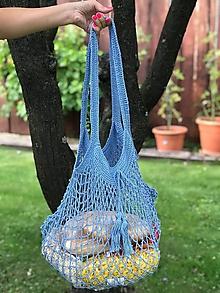 Nákupné tašky - sieťovka nebesky modrá - 10913489_
