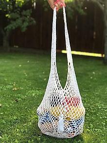 Nákupné tašky - háčkovaná nákupná sieťovka- biela - 10913565_
