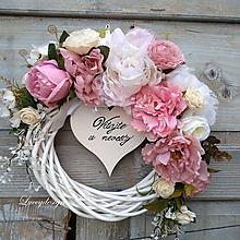 Dekorácie - svadobný veniec..vintage ružový - 10913819_