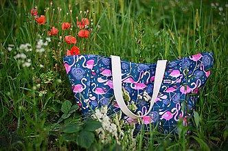 Veľké tašky - Plážová taška (plameniaky) - 10916019_