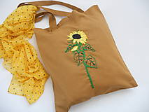 Nákupné tašky - Slnečnica (nákupka ručne vyšívaná) - 10915861_