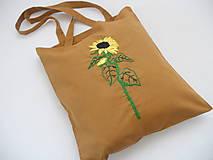 Nákupné tašky - Slnečnica (nákupka ručne vyšívaná) - 10915862_