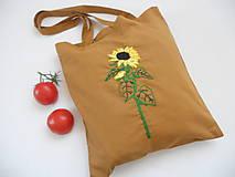 Nákupné tašky - Slnečnica (nákupka ručne vyšívaná) - 10915863_