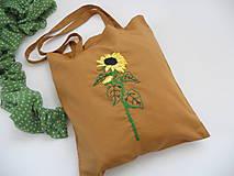 Nákupné tašky - Slnečnica (nákupka ručne vyšívaná) - 10915864_