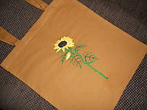 Nákupné tašky - Slnečnica (nákupka ručne vyšívaná) - 10915865_