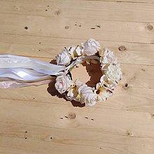 Ozdoby do vlasov - Svadobná parta vanilkový krém - 10916150_