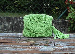 Kabelky - Zelená háčkovaná kabelka - 10916521_