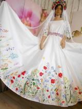 """Šaty - Svadobné šaty s vlečkou """" Maľované lúčne kvietky """" - 10916326_"""