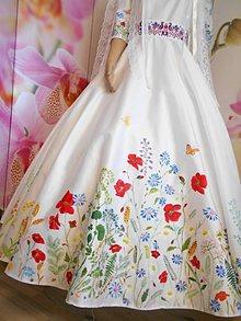 """Šaty - Svadobné šaty s vlečkou """" Maľované lúčne kvietky """" - 10916322_"""