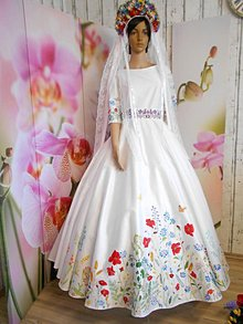 """Šaty - Svadobné šaty s vlečkou """" Maľované lúčne kvietky """" - 10916323_"""