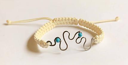 Náramky - Morské vlny, tepaný makramé náramok tyrkys, oceľ - 10915342_