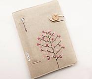 Papiernictvo - Zápisník vyšívaný A5 - Magnólia - 10915501_