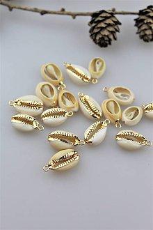 Minerály - mušla na prívesky a náušnice zlatá - 10915557_