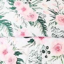 Textil - jemný splývavý bavlnený mušelín/gázovina Ružové kvety, šírka 160 cm - 10915248_