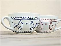 Nádoby - Maľovaná šálka s ľudovým motívom - Vtáčiky - 10915654_