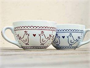 Nádoby - Maľovaná šálka s ľudovým motívom - Vtáčiky - 10915657_