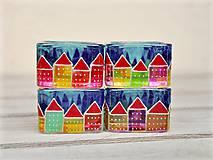 Svietidlá a sviečky - Ručne maľované svietniky - Domčeky - 10915896_