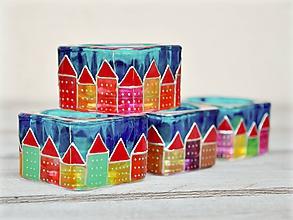 Svietidlá a sviečky - Ručne maľované svietniky - Domčeky - 10915894_