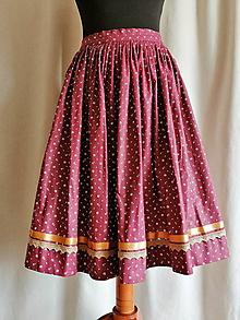 Sukne - Krojová sukňa vínová s bielymi kvetinkami - 10916911_