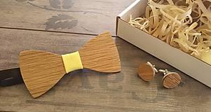 Doplnky - Sada drevený motýlik a manžetové gombiky - 10914386_