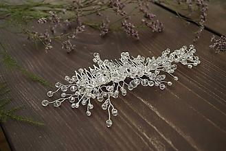 Ozdoby do vlasov - Svadobný kryštálikový hrebienok - 10915667_