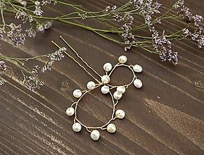 Ozdoby do vlasov - Svadobná vlásenka s riečnymi perlami - 10915923_