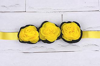 Opasky - Opasok žlto-čierne ruže - 10915481_