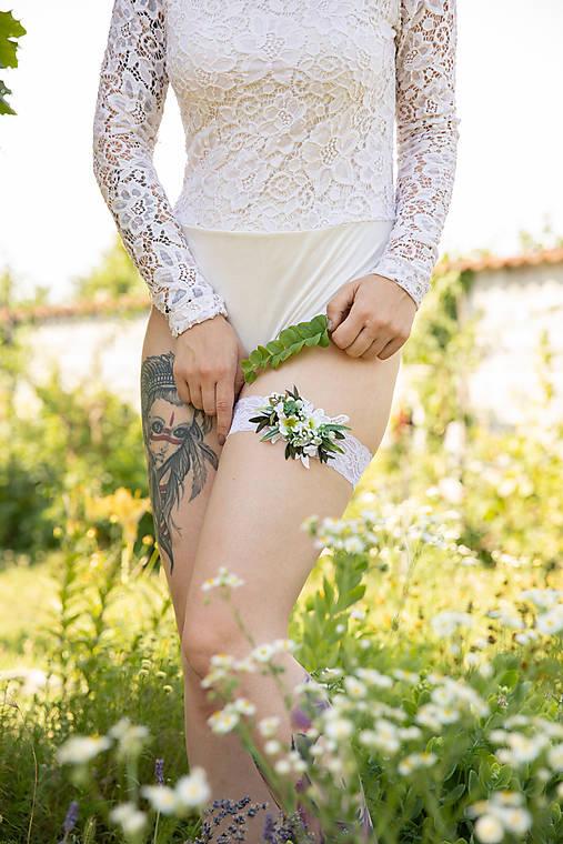 """Svadobný greenery podväzok """"krásne ráno"""""""
