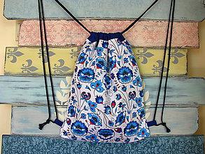 Batohy - Ruksak, batůžek, vak - Modrobílé květiny - 10914840_