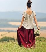Sukne - Maxi sukně lněná vínová - 10916271_