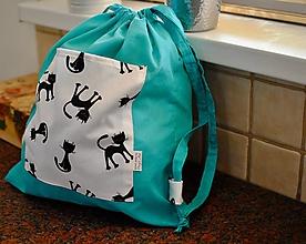 Batohy - Tyrkysový ruksak s mačkami - 10916061_