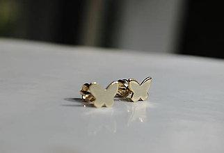 Náušnice - Detské náušničky motýliky zlaté - 10917623_