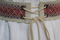 Opasky - Ľanový opasok Západ červený - 10918790_