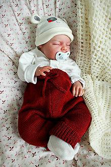 Detské oblečenie - Pletené detské nohavice bordové bavlna/akryl - 10919675_