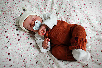 Detské oblečenie - Pletené detské nohavice karamelové bavlna/akryl - 10919709_