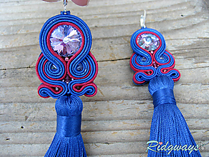 Náušnice - Tassels collection...soutache (Blue/Vitrail medium light) - 10918010_