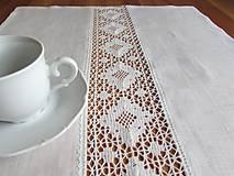 Úžitkový textil - Biela ľanová štóla Marguerite - 10917610_