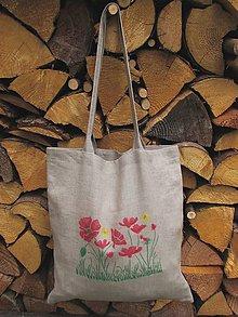 Nákupné tašky - Ľanová taška Lúčne maky - 10917367_
