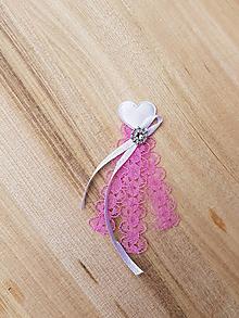 Pierka - ružové pierka čipkované s bielym srdiečkom - 10918060_