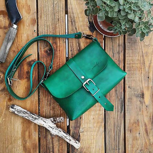Kabelky - Kožená kabelka Hanna (zelená) - 10919035_