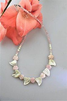 Náhrdelníky - perleť kvietky náhrdelník svadobný - 10918775_