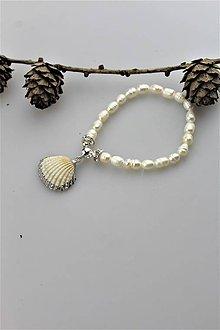 Náramky - perly náramok s mušličkou AKCIA! - 10919749_