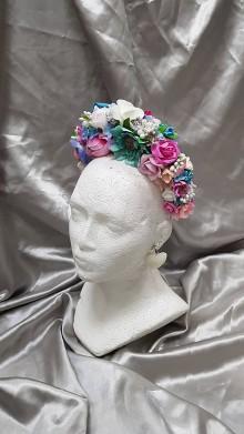 Ozdoby do vlasov - Pestrofarebná kvetinová čelenka - 10917261_
