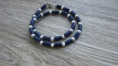 Šperky - Pánsky náhrdelník okolo krku - chirurgická oceľ (modro biely námorník, č. 2803) - 10919323_