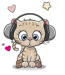 Galantéria - Nažehľovačka Mačička so slúchadlami - 10918980_