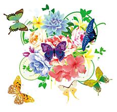 Galantéria - Nažehľovačka Kvety a motýle - 10919043_