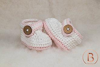 Topánočky - Papučky pre bábätko/bielo ružové - 10919253_