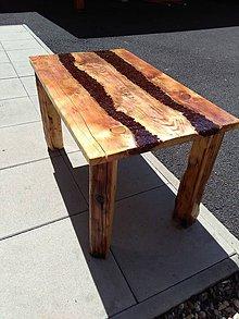Nábytok - Konferenční stolek z masivu a pryskyrice - 10918217_