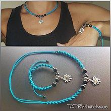 Sady šperkov - Set náhrdelník a náramok (Plesnivec - tyrkysový) - 10917342_